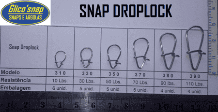 Snap Droplock Glico Snap Mod.350- 50Lbs 5pçs